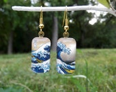 Great Wave earrings Hokusai art earrings small glass earrings