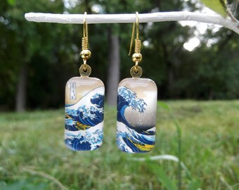 Great Wave earrings Hokusai art earrings small glass earrings