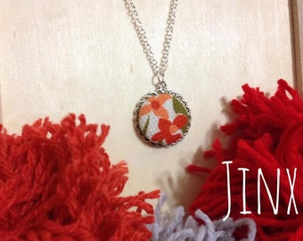 Vintage Fabric Pendant Necklace // Burnt Orange and Orange-Orange // Bright and Happy Colors