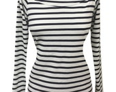 White & Navy Sailor Stripe Rockabilly Wanda Top
