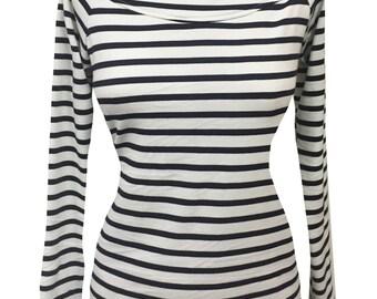 White & Navy Sailor Stripe Rockabilly Wanda Top