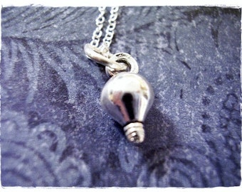 Silver Light Bulb Necklace - Sterling Silver Light Bulb Charm on a Delicate Sterling Silver Cable Chain or Charm Only