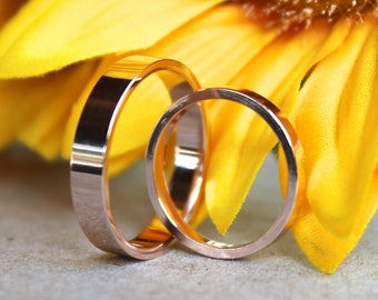 14K Rose Gold Wedding Band set, wedding rings, wedding bands, his and hers,