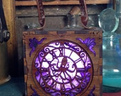 Steampunk Glowlamp. Kraken Alert box, unisex Attach corsets or belts.