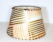 Laced Mid Century Lamp Shade White Brown Orange Striped Squares Vinyl Translucent Uno Fitting