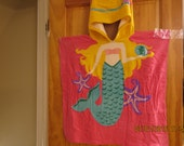 Little Girls poncho towel- Mermaid