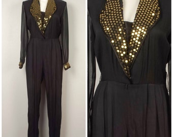 black gold sequin disco jumpsuit 70s 80s vintage sheer sleeve high waist dressy tapered leg pants special occasion party cocktail