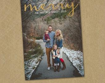 SAME DAY turnaround Custom Christmas Card -- Holiday Greeting Card -- MERRY -- Gold Foil // 046