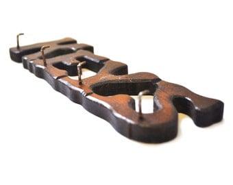 Vintage - Wooden Key Holder. Hanger. Rack. Wood. Brown. KEYS. Hooks. Country Cottage. Rustic.