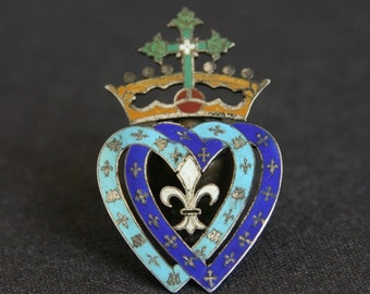 Two hearts. French pilgrimage blue Sacred Hearts boy Scouts memorabilia. Religious enamel souvenir from France.