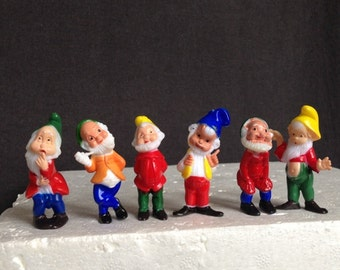 Vintage dwarfs little cake toppers. Fun retro party display decor.