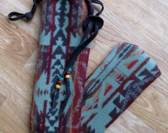 Pennywhistle, Recorder, Quena, Whistle Pouch, Flute or Fife Case, Native Flute or Medicine Bag Shonto Sage 22 x 4