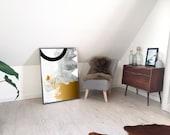 SALE: Gold Abstract Geometric Print, Living Room Decor, 70x100 Wall Art, Modern Art, Fine Art Print, Contemporary Art, Black and White Decor