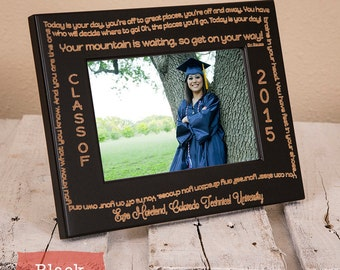 Personalized Dr Seuss Graduation Frame-Graduation Gift-Oh the Places You'll Go-Wood Engraved-2016-Graduation-Color Choice