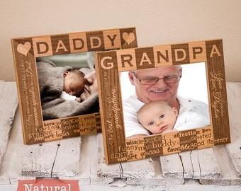 Dad and Grandpa Personalized Picture Frame Set! Personalized 1 Daddy & 2 Grandpa Picture Frames-Gifts for Dad-Fathers Day Gift-Grandpa Frame