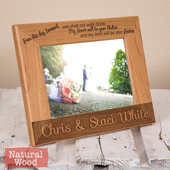 Engraved Picture Frames Wedding Favors : Personalized Wedding Picture Frame-Wood Engraved-Wedding Gift-Wedding ...