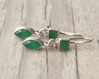 Emerald Earrings, Sterling Silver & Emerald Small Dangle Earrings, May Birthstone Gift Idea, Emerald Jewelry, Stylish Green Emerald Drops