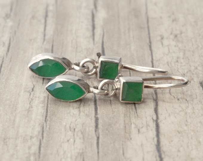 Featured listing image: Emerald Earrings, Sterling Silver & Emerald Small Dangle Earrings, May Birthstone Gift Idea, Emerald Jewelry, Stylish Green Emerald Drops