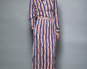 skirt top set 2-piece vintage 1970s belt stripe print red white blue S SMALL long sleeves midi