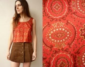 1950's Vintage Red Lion Cropped Cotton Top Size XS