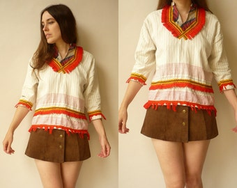 1970's Vintage Hippie Patchwork & Fringe Festival Tunic Top Size Small