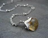 Citrine necklace, citrine pendant, sterling necklace, handmade pendant, gemstone necklace, November birthstone, genuine citrine, dotted cap