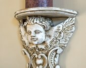 Wall Sconce Shelf / Candleholder Pillar Holder / Display Shelf / Wall Sconce / Carved Wood Winged Angel Aged White