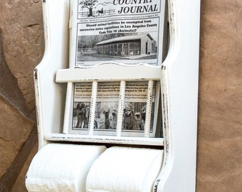 Magazine Rack with Toilet Paper Holder Wall Hung Hand Painted and Shabbily Distressed in Oyster Bath Decor
