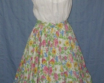 Circle Skirt with Ruffles 1980's Square Dance Vintage 50's Look Ladies L