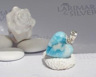 Larimarandsilver pendant, Two Sides of Love - cloudy Larimar heart, sea blue heart, aquamarine, reversible, handcrafted Larimar pendant - A