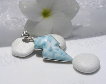 Larimarandsilver pendant, Wave Thunder - silver blue Larimar lightning, blue flash, ice blue, aqua, flash pendant, handmade Larimar pendant