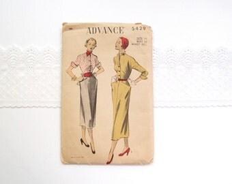 1950s dress pattern / 40s-50s Avant Garde Advance 5429 2 pc dress midi skirt Winged Cuffs & Flared Pockets ...unused 14/32