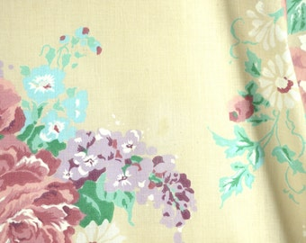 1/2 YARD, Almond Pink Purple Large Bouquets, Floral Print, Quilting Cotton Fabric, Roses Lilacs Flowers, Green Leaves, B23