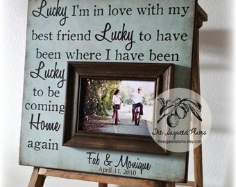 Anniversary Gift, Unique Wedding Gift, Wedding Sign, Lucky I'm In Love With My Best Friend, Personalized Frame, 16x16 The Sugared Plums