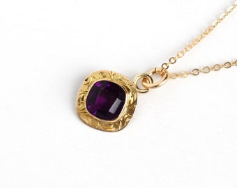 Sale - Antique 10k Yellow Gold Simulated Amethyst Art Nouveau Necklace - Vintage 1900s Edwardian Fine Pendant Purple Glass Filigree Jewelry