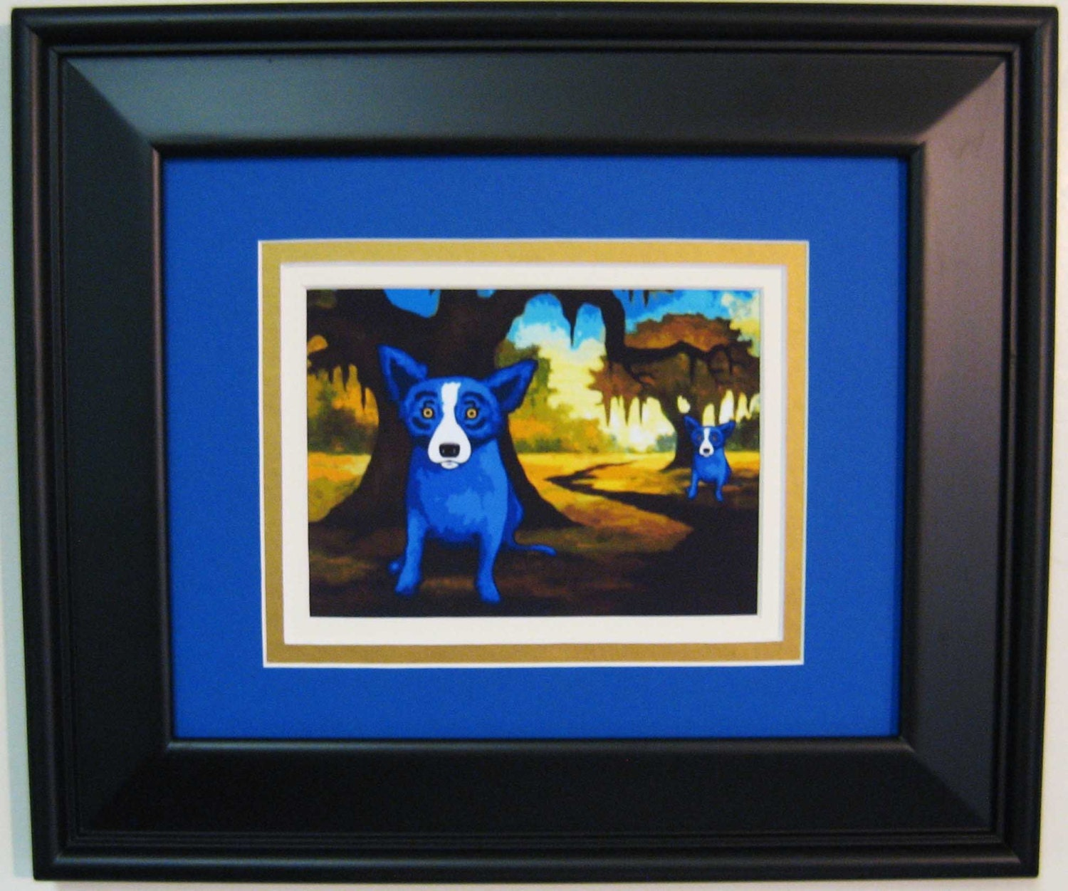 george rodrigue blue dog she lived across the bayou promotional postcard triple matted and framed 135 x 115 overall size