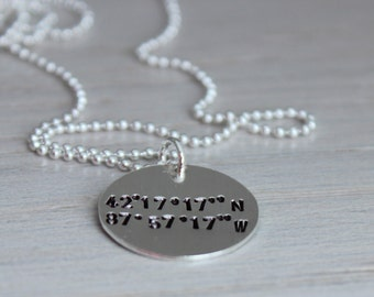 Latitude & Longitude Coordinates necklace | going away gift | GPS coordinates necklace | location necklace | hand stamped tag necklace