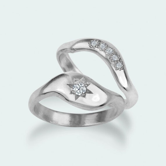 Diamond engagement ring wedding ring band set - modern unique rings - 14k white gold
