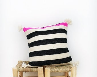 Moroccan POM POM pillow cover - wool natural undyed with black and pink stripes