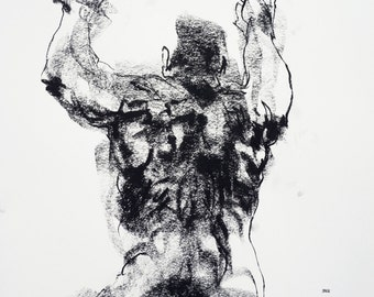 """Male Nude -  Classical Figure Drawing  - 11 x 14"""",  fine art - Drawing 353 - charcoal on paper - original drawing"""