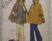 Easy to Sew Misses Reversible Hooded Poncho One Size Vintage 1970's Simplicity Pattern 6630 Cut/Complete