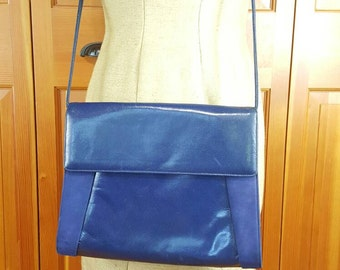 Vintage Purse, Blue Leather and Suede, Detachable Shoulder Strap, Cross Body, Bag, Clutch