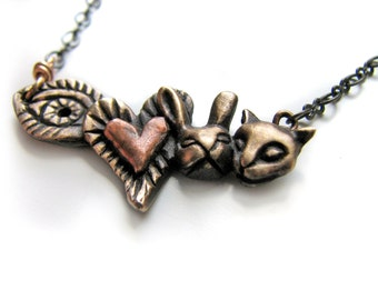 Animal rights necklace I love animals