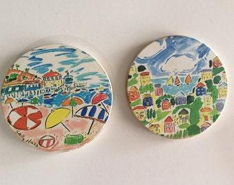 Mid Century Sally Huss Artist Ceramic Coasters / Cork Back/ Beach Decor/ Stoneware Coaster/Tile Coaster/ By Gatormom13