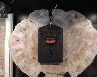 I.D.  Badge Holder: Black Leather and Red  Eye