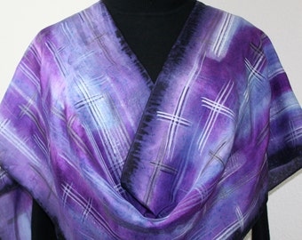 Silk Scarf Hand Painted. Silk Shawl Purple, Aubergine. Hand Dyed Silk Scarf VACATION PURPLE. Large 14x72. Birthday, Mother Gift.