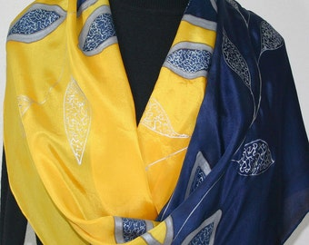 Silk Scarf Handpainted. Yellow, Navy Blue Hand Painted Shawl. Handmade Silk Scarf LOVE TREE, in Several SIZES. Anniversary Gift.