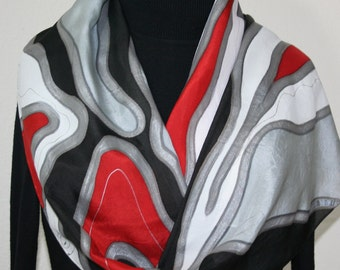 Hand Painted Silk Scarf. Silver Gray, Red, Black & White Handmade Scarf WINTER LOVE, in 3 SIZES.  Silk Scarves Colorado. Hand Dyed Scarf