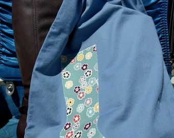 Travel Boot Bag Set, Slate Blue Twill with Floral Applique
