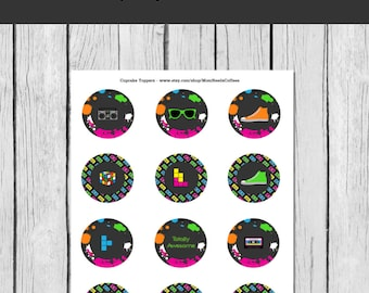 80s cupcake toppers, 80s party printables, 80s birthday party, 80s party decorations, 80s decor, 80s party, 80s decor, INSTANT DOWNLOAD